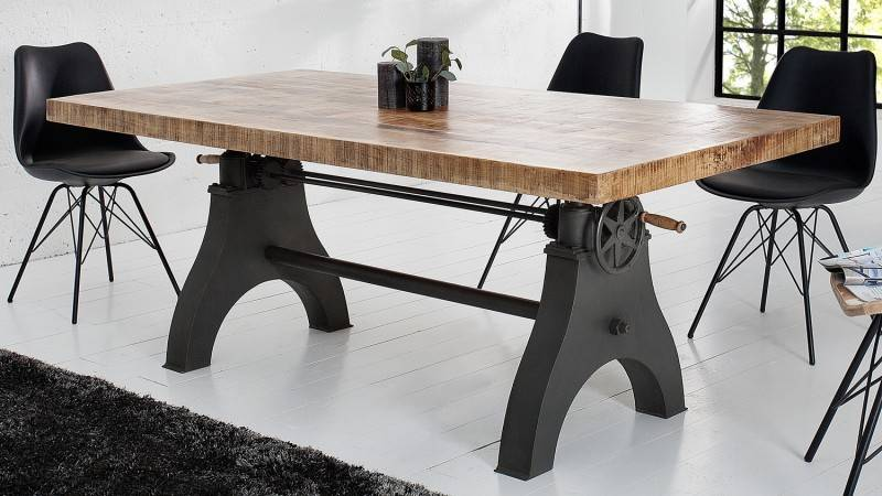 gdegdesign Table à manger industriel bois relevable 200 cm - Taylor