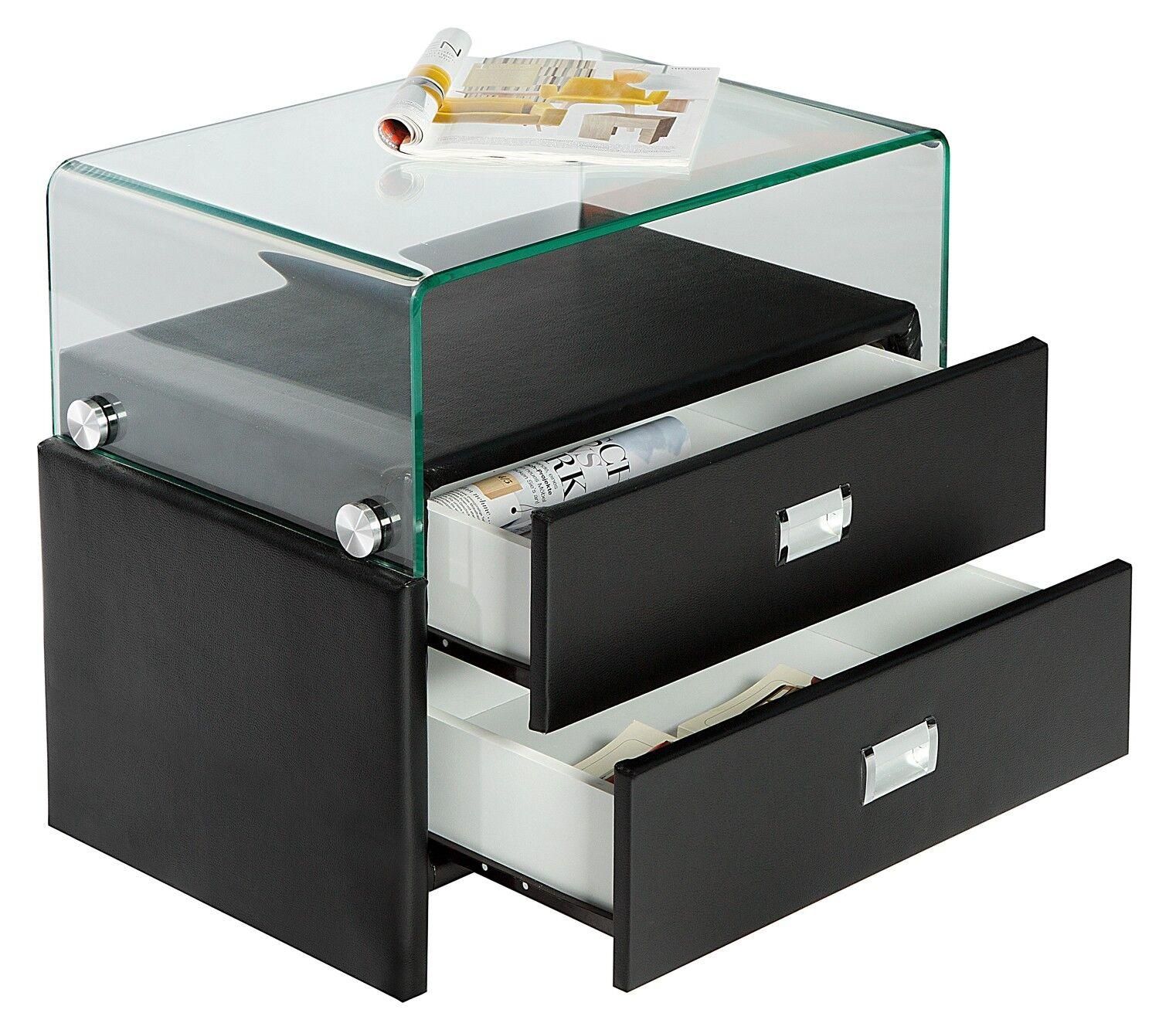 gdegdesign Chevet design simili cuir noir et verre 2 tiroirs - Stan