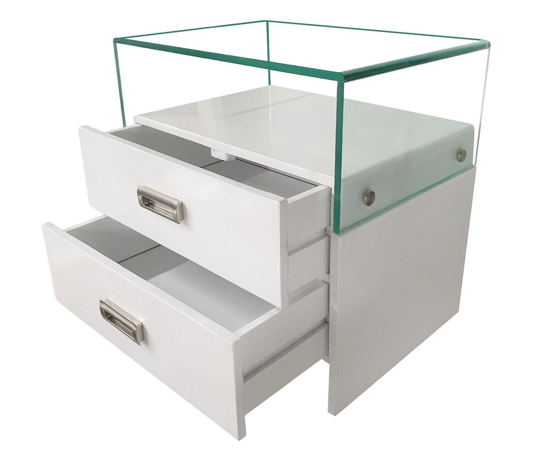gdegdesign Chevet design bois massif peint blanc et verre 2 tiroirs - Jonas