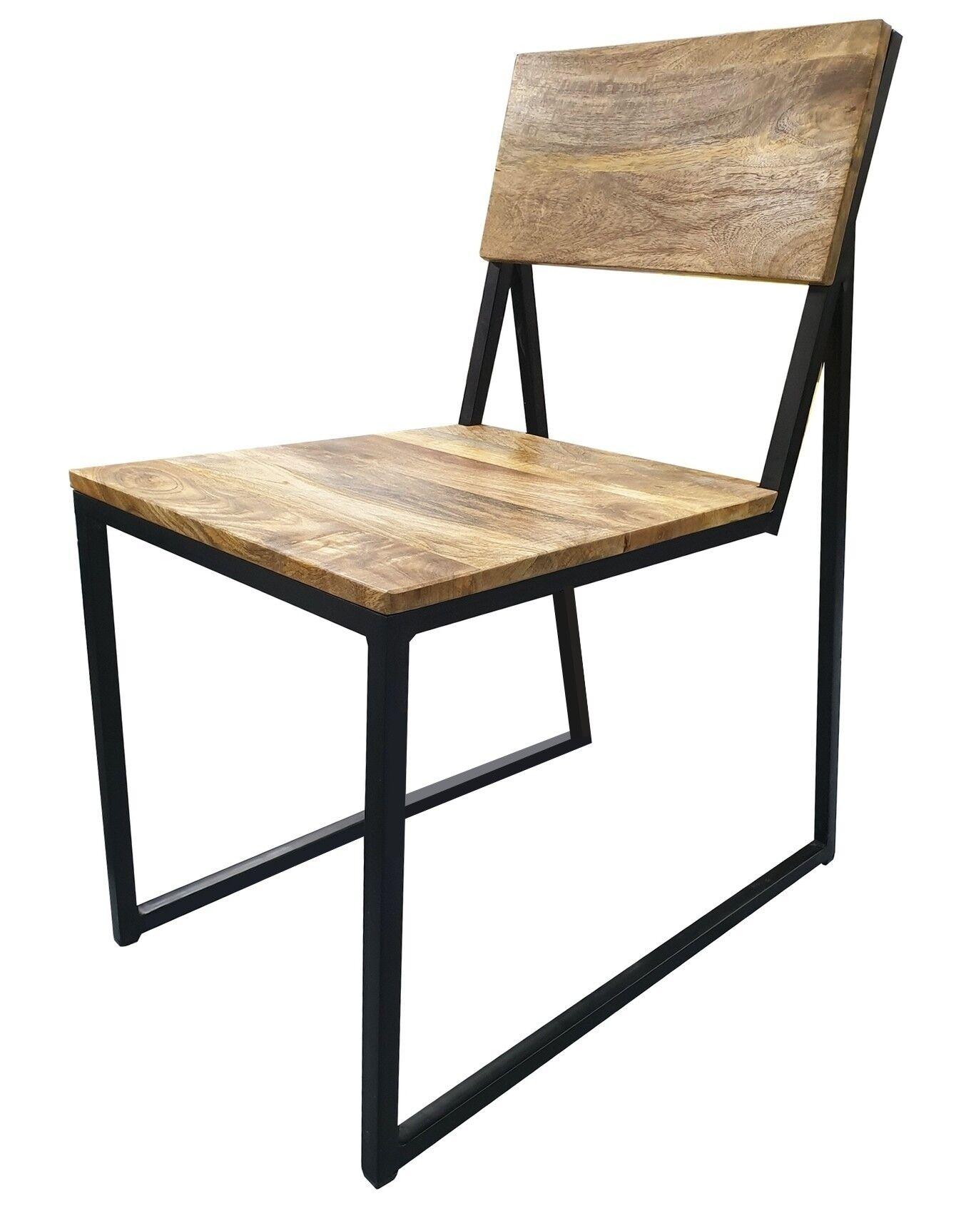 gdegdesign Chaise design industriel bois massif et métal - Gunther