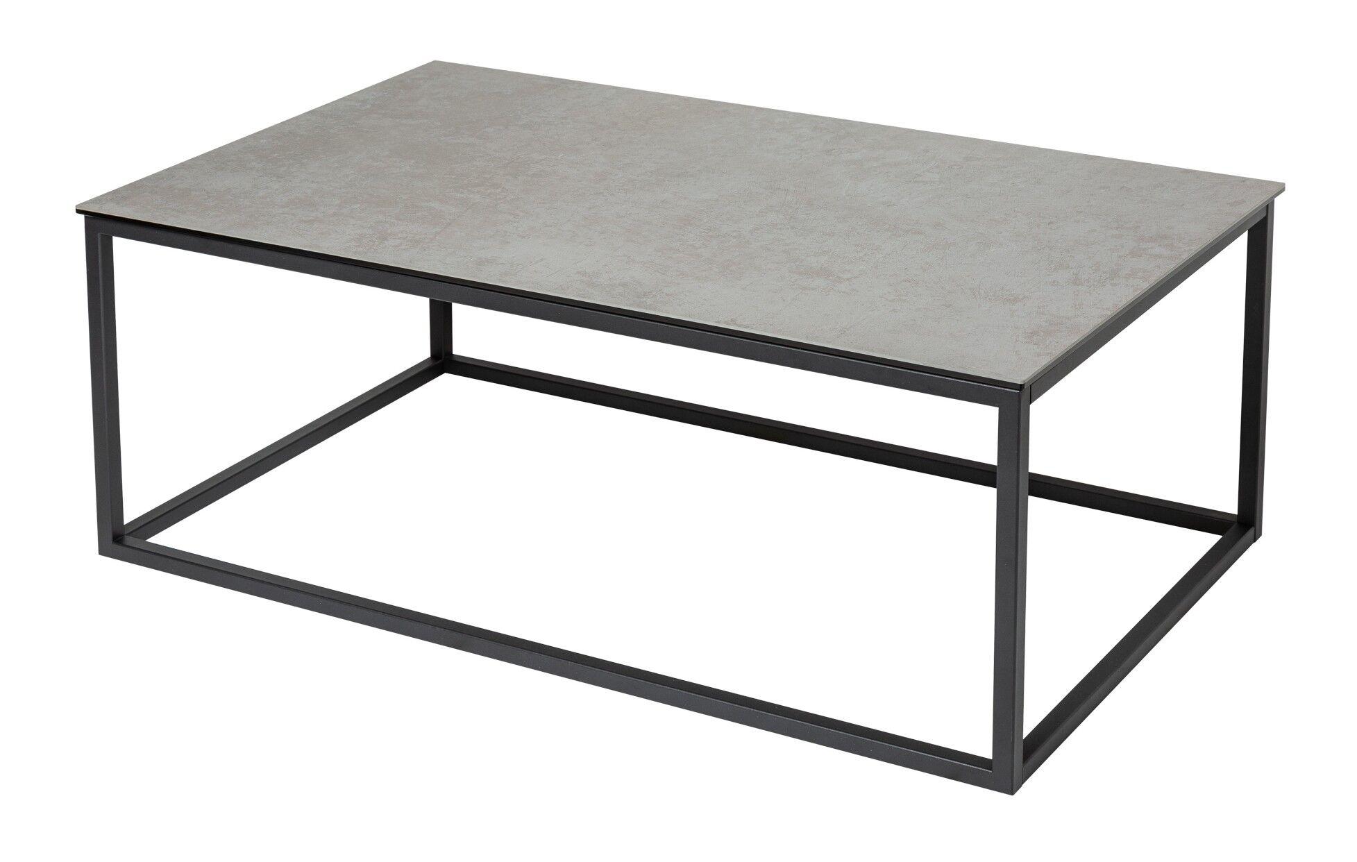 gdegdesign Table basse rectangle plateau verre et céramique gris béton ciré - Baldo