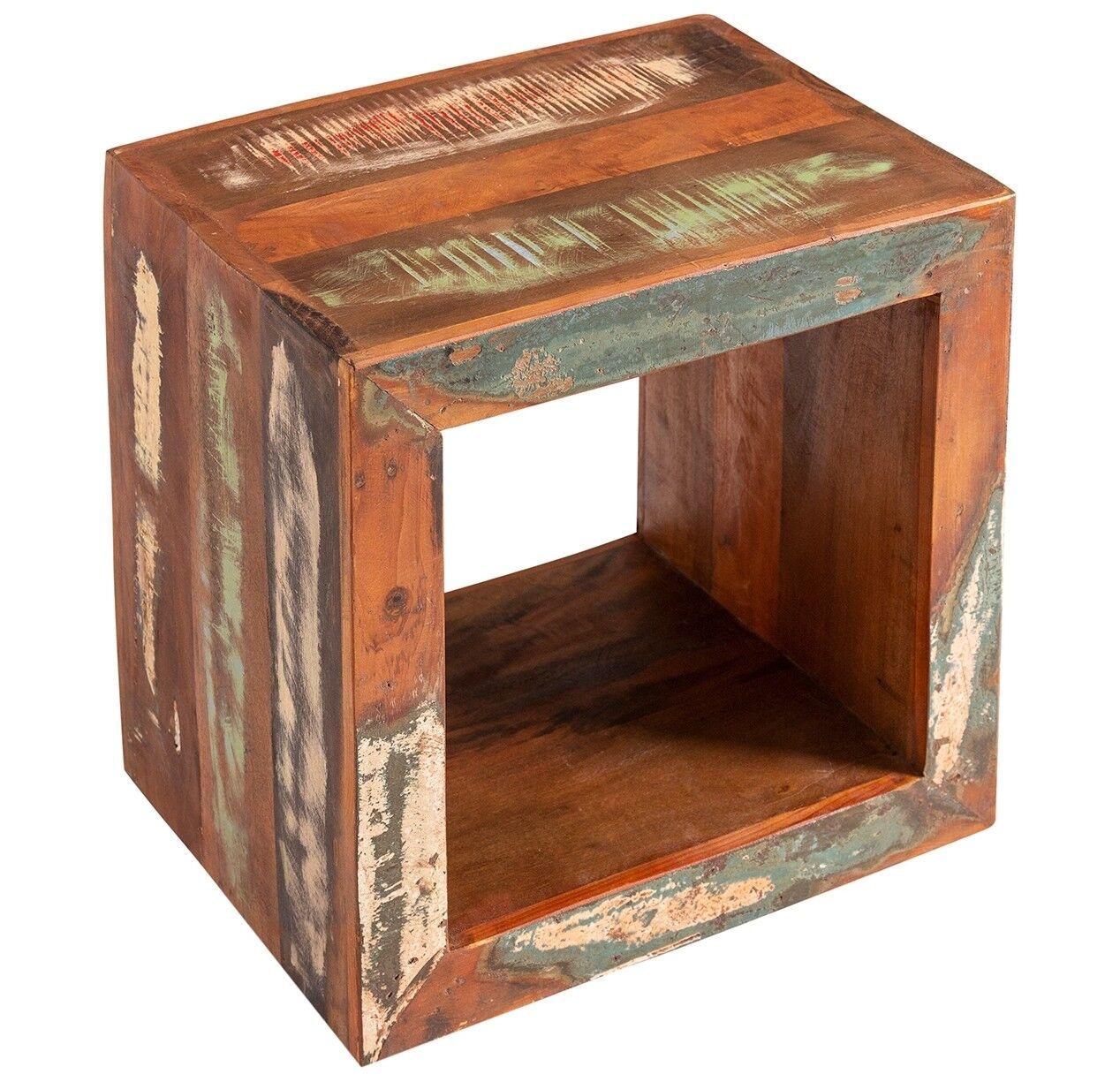 gdegdesign Table d'appoint design ou chevet de nuit en bois carré recyclé multicolore - Ajay