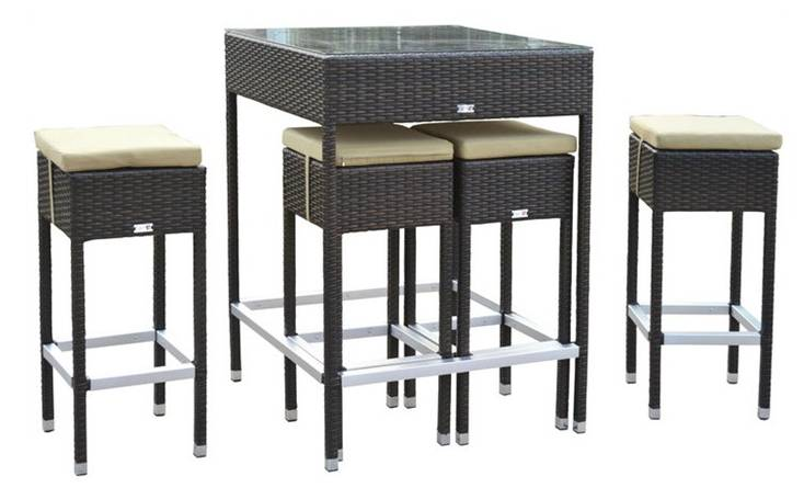 gdegdesign Table haute de jardin + 4 tabourets de bar - Mesa