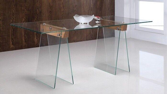 gdegdesign Table à manger rectangulaire 180 cm en verre transparent - Istanbul