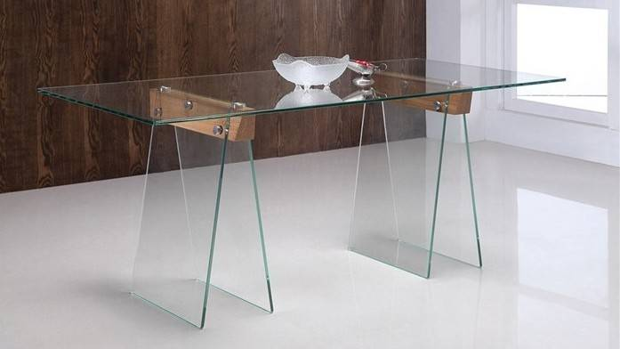 gdegdesign Table à manger rectangulaire 180 cm en verre transparent - Istanbul