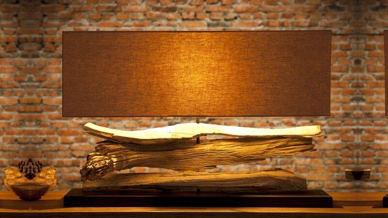 gdegdesign Lampe à poser design bois flotté avec abat-jour - Ronan