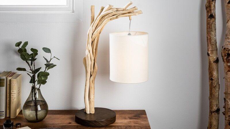 gdegdesign Lampe à poser design bois flotté avec abat-jour - Tobias