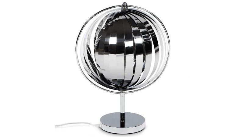 gdegdesign Lampe à poser design boule ronde chrome - Moon JR