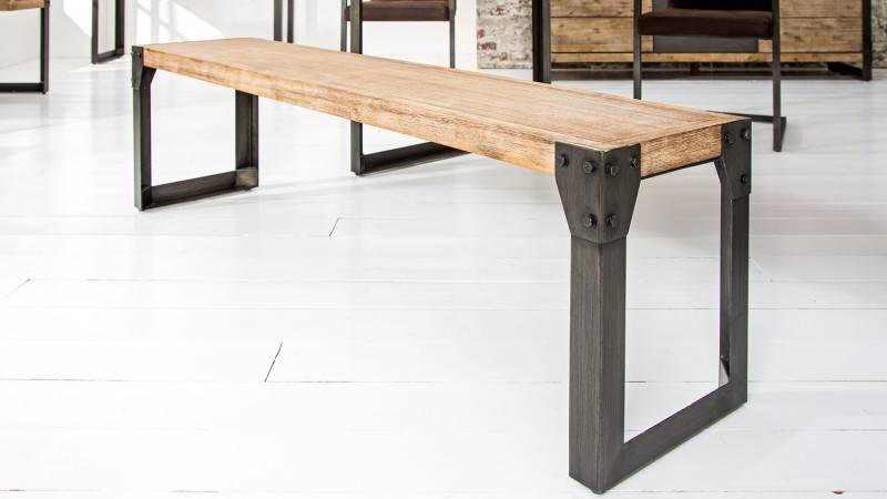gdegdesign Banc design industriel bois et métal 160 cm - Jorg