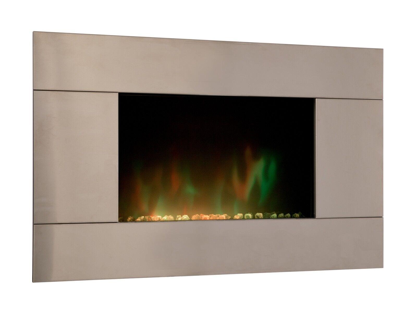 gdegdesign Cheminée électrique décorative lumineuse LED façade inox - Pure