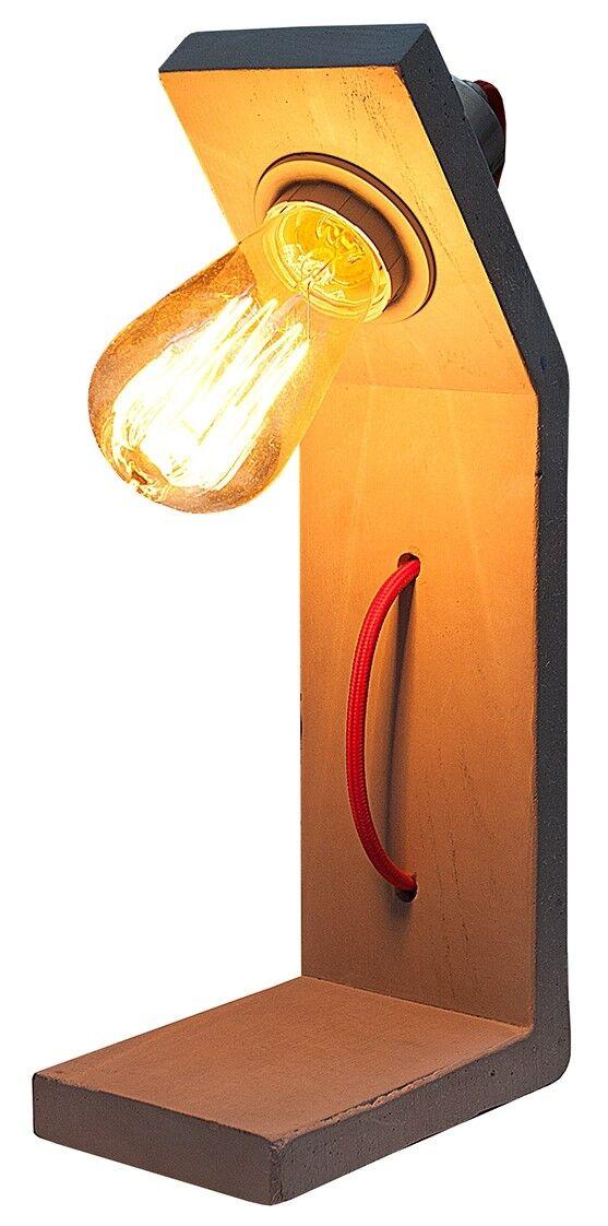 gdegdesign Lampe à poser design bois coloris béton avec ampoule - Billy