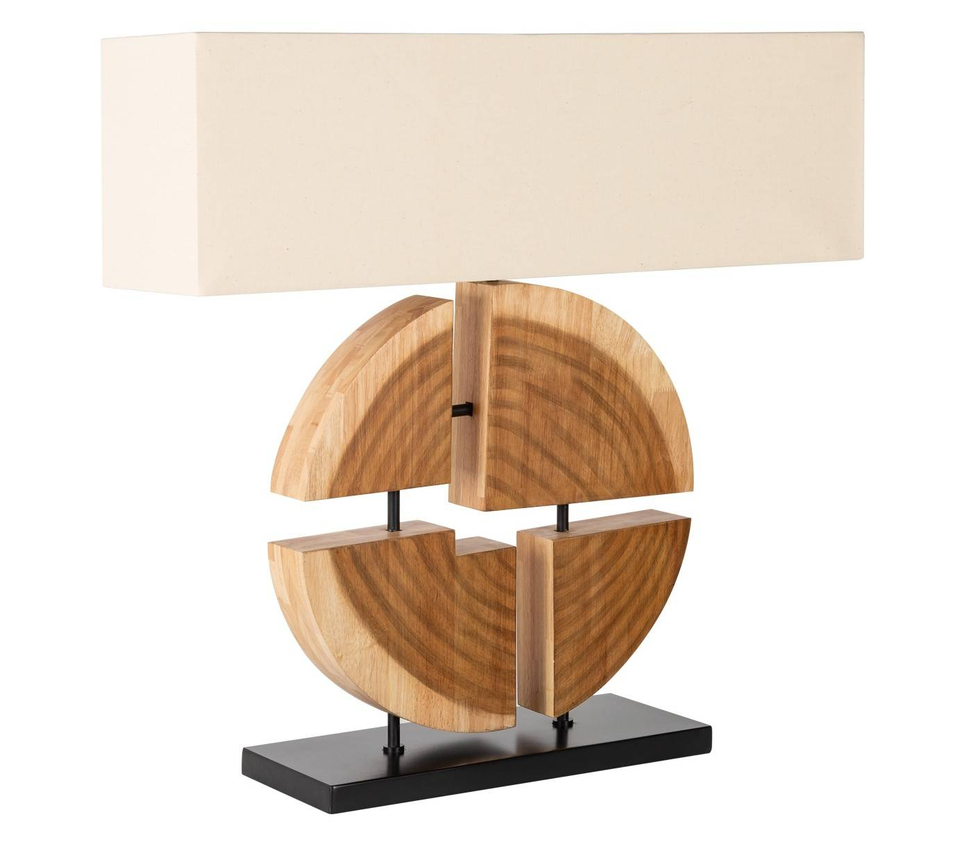 gdegdesign Lampe à poser design bois d'hévéa massif avec abat-jour - Tao