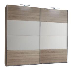 Inside75 Armoire EVA portes coulissantes largeur 180 chêne châtaigne / blanc - Publicité