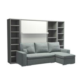 Inside75 Armoire lit verticale MALDIVES avec canapé méridienne droite et rangements intégrés Couchage 160*200 cm - Publicité