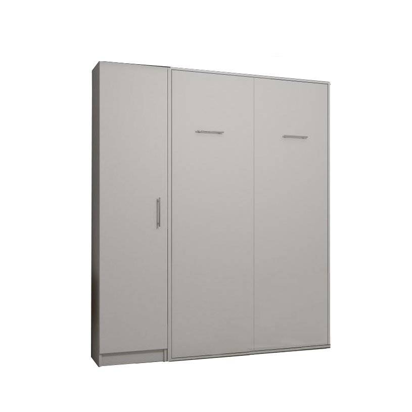 Inside75 Composition armoire lit escamotable SMART-V2 blanc mat Couchage 140 x 200 cm colonne armoire
