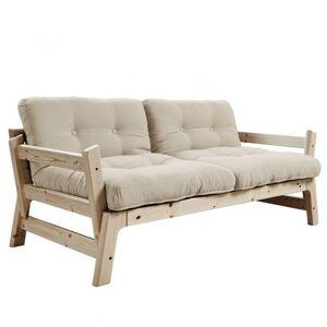 Inside75 Banquette convertible futon  STEP pin massif coloris beige couchage 70*200 cm. Publicité
