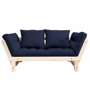 Inside75 Banquette méridienne futon BEAT pin naturel tissu coloris marine couchage 75*200 cm. Publicité