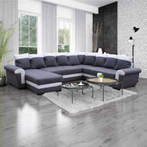 Inside75 Canapé d'angle panoramique convertible MOCCA LONDONDERRY gris graphite et blanc - Publicité