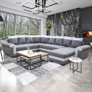 Inside75 Canapé d'angle panoramique convertible MOCCA LONDONDERRY gris silex et blanc - Publicité