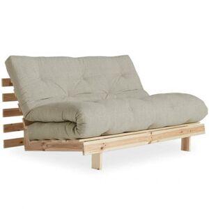 Inside75 Canapé convertible futon ROOTS pin naturel tissu lin couchage 140*200 cm. Publicité