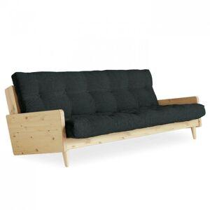 Inside75 Canapé 3 places convertible INDIE style scandinave futon gris ardoise couchage 130*190 cm. Publicité