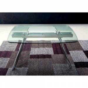 ZAMAGNA CHRONOS Table repas extensible, plateau en verre, piétement en métal chromé - Publicité
