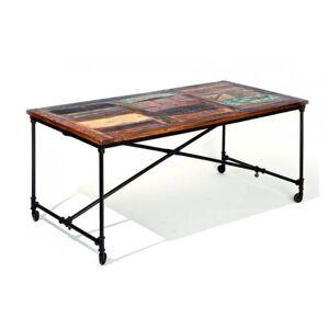 Inside75 Table repas unique COFFEE en bois de manguier recycle et acier - Publicité