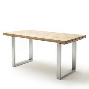 Inside75 Table extensible DUBLIN 220 x 100 cm chêne sauvage acier brosse - Publicité