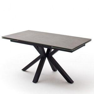 Inside75 Table extensible NODA 160 x 90 cm plateau céramique anthracite pied acier laqué anthracite - Publicité