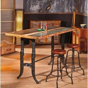 Inside75 Table repas unique AMARELO en bois de manguier recycle et acier - Publicité