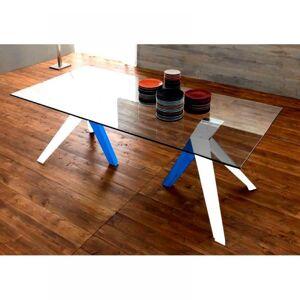 ZAMAGNA TRIO Table repas en verre, piétement en bois blanc et bleu - Publicité