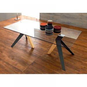 ZAMAGNA TRIO Table repas en verre, piétement en bois teinté naturel et noir - Publicité