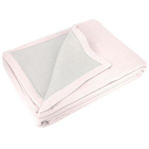 Linnea Couverture été 220x240 cm 100% coton 260 g/m2 PROVENCE bicolore rose poudré/perle - Publicité