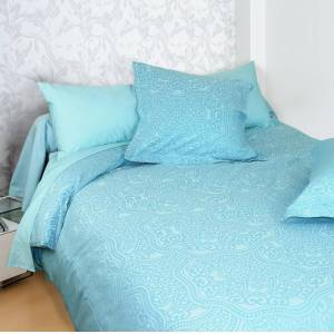Linnea Housse de couette 300x240 cm Satin de coton PANTHEON Bleu clair - Publicité
