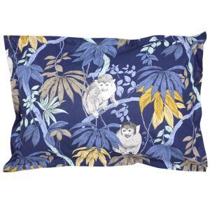 Linnea Taie d'oreiller 70x50 cm 100% coton CAPUCIN bleu Nuit avec impression fixé-lavé - Publicité
