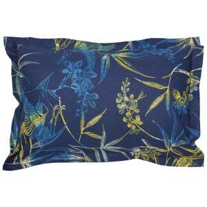 Linnea Taie d'oreiller 70x50 cm 100% coton KIMONO bleu Paon avec impression fixé-lavé - Publicité