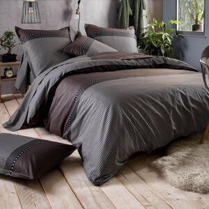 Linnea Parure de lit 140x200 cm satin de coton ENZO noir 2 pièces - Publicité