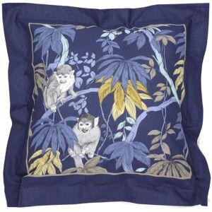 Linnea Taie d'oreiller 65x65 cm 100% coton CAPUCIN bleu Nuit avec impression fixé-lavé - Publicité