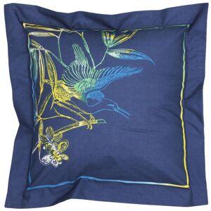 Linnea Taie d'oreiller 65x65 cm 100% coton KIMONO bleu Paon avec impression fixé-lavé - Publicité