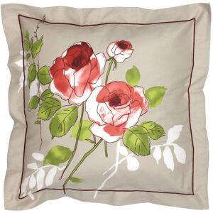 Linnea Taie d'oreiller 65x65 cm satin de coton ROSERAIE beige ficelle - Publicité