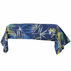 Linnea Taie de traversin 200x43 cm 100% coton KIMONO bleu Paon avec impression fixé-lavé - Publicité