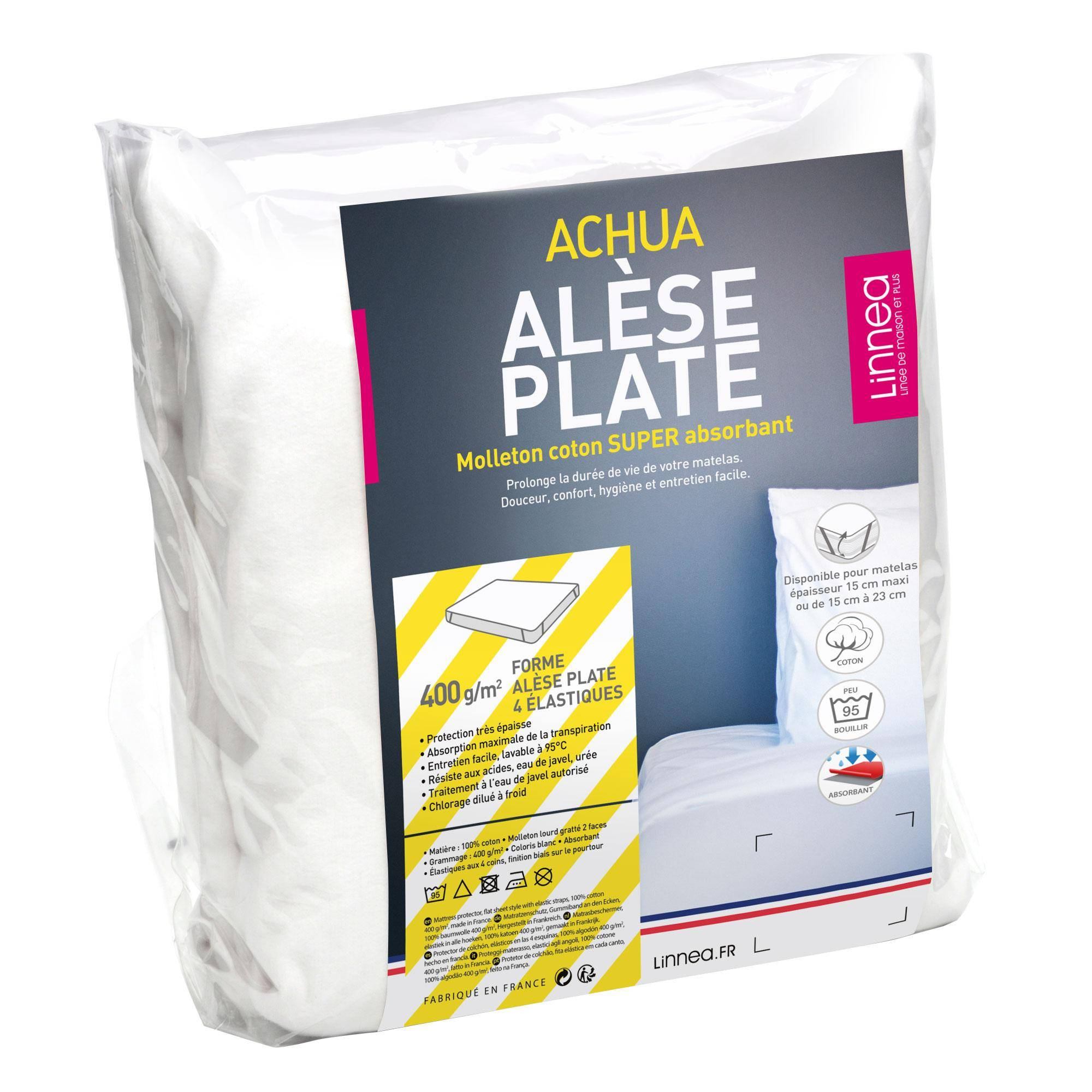 Linnea Alèse plate 80x200 cm ACHUA Molleton 100% coton 400 g/m2 matelas 15cm à 23cm