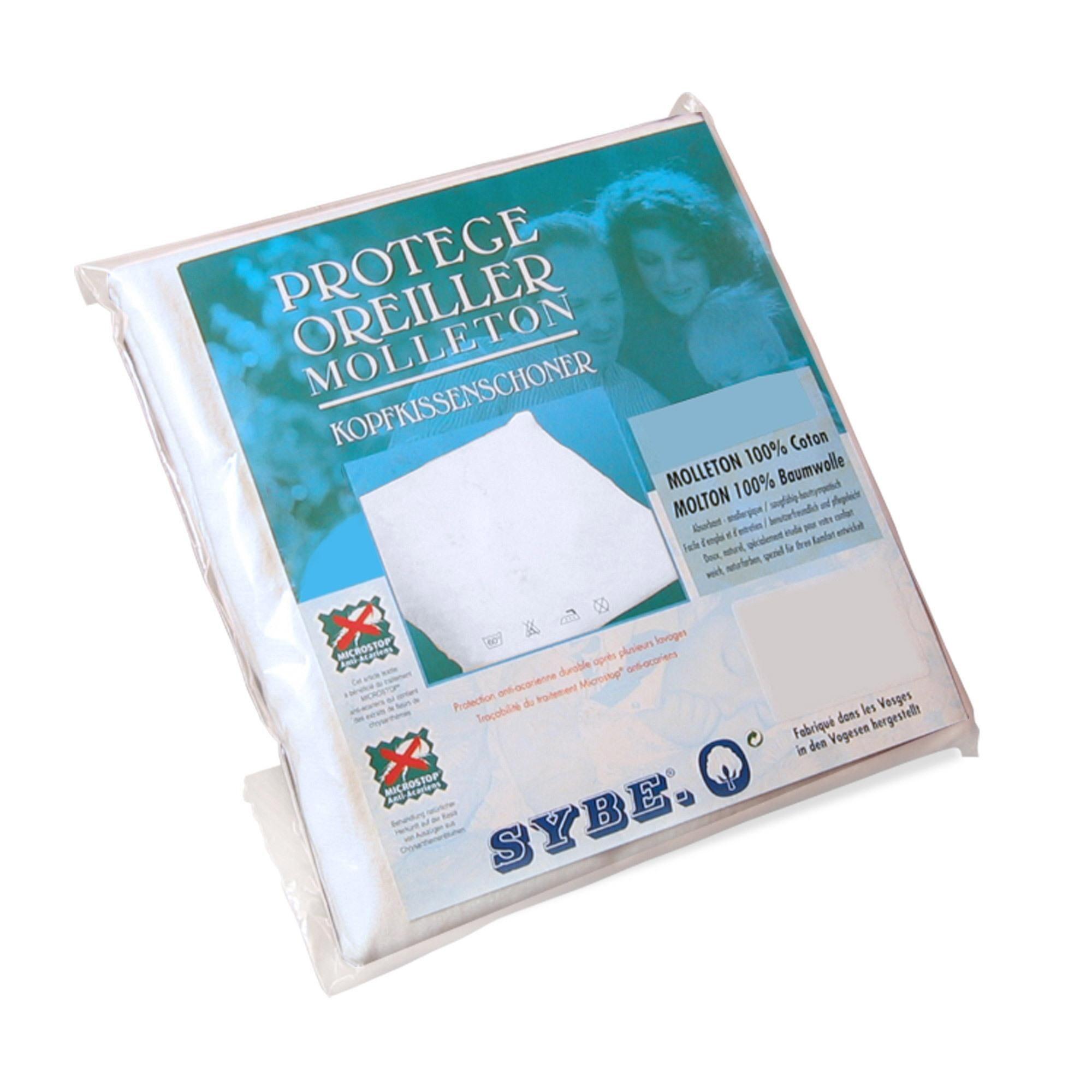 Linnea Housse de protection oreiller 65x65 cm Antonin Molleton absorbant traité anti-acariens