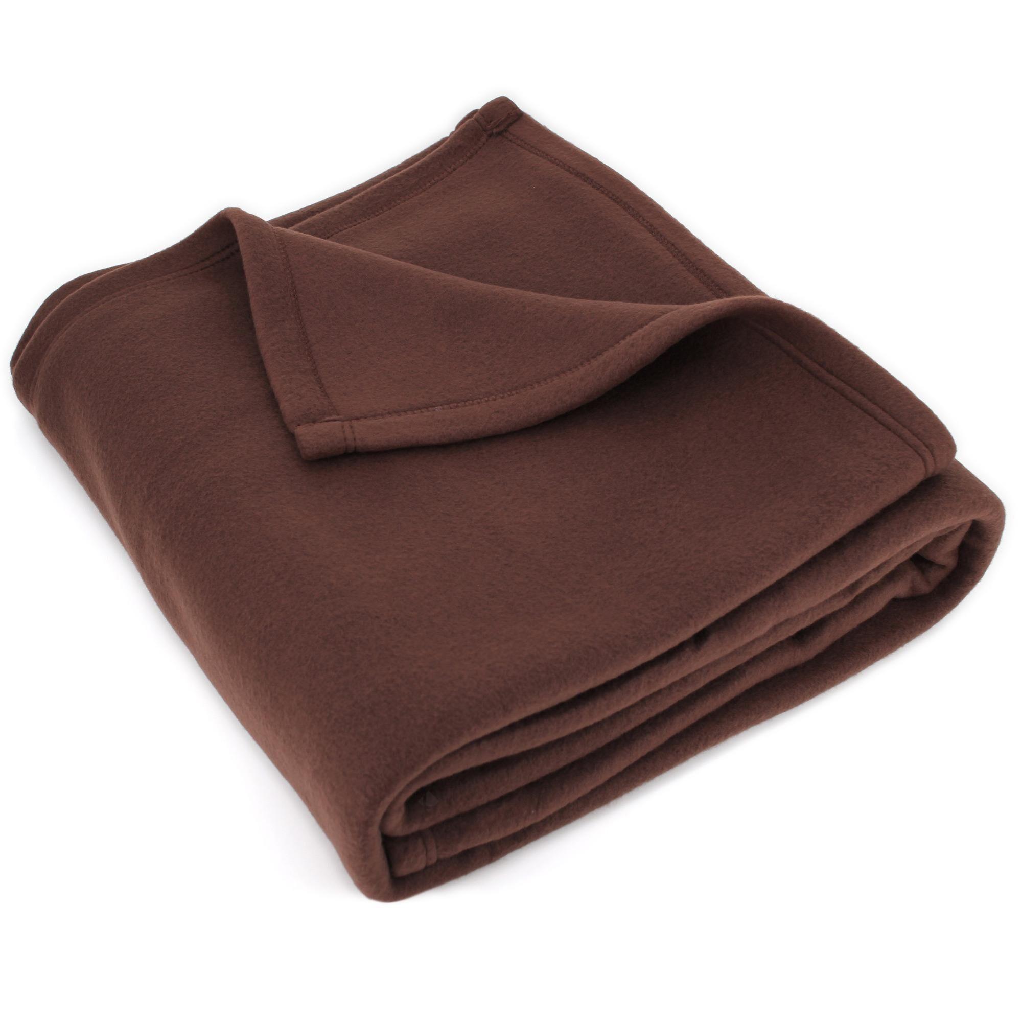 Linnea Couverture polaire 240x260 cm Isba marron Chocolat 100% Polyester 320 g/m2 traité non-feu