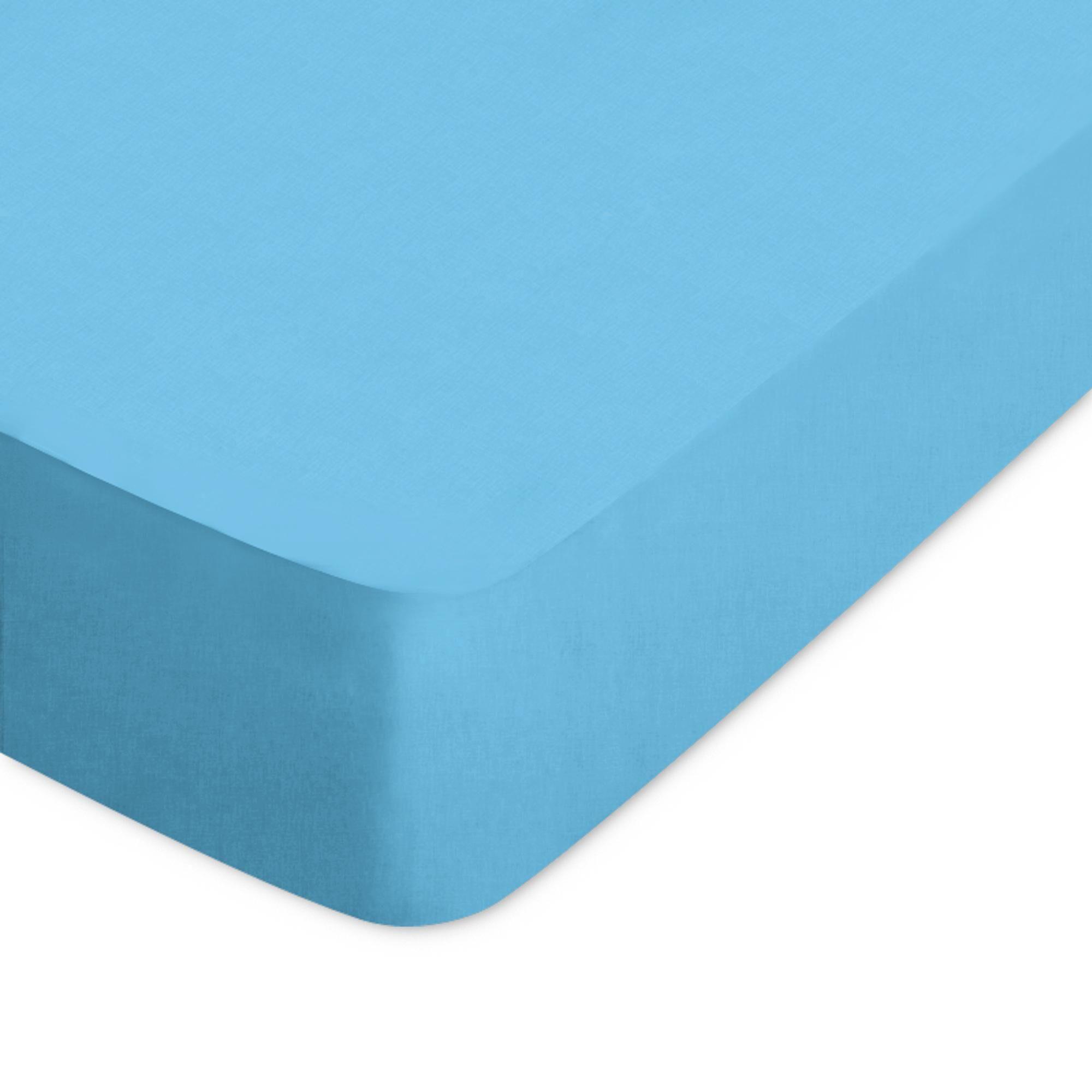 Linnea Drap housse uni 60x120 cm 100% coton ALTO bleu sky