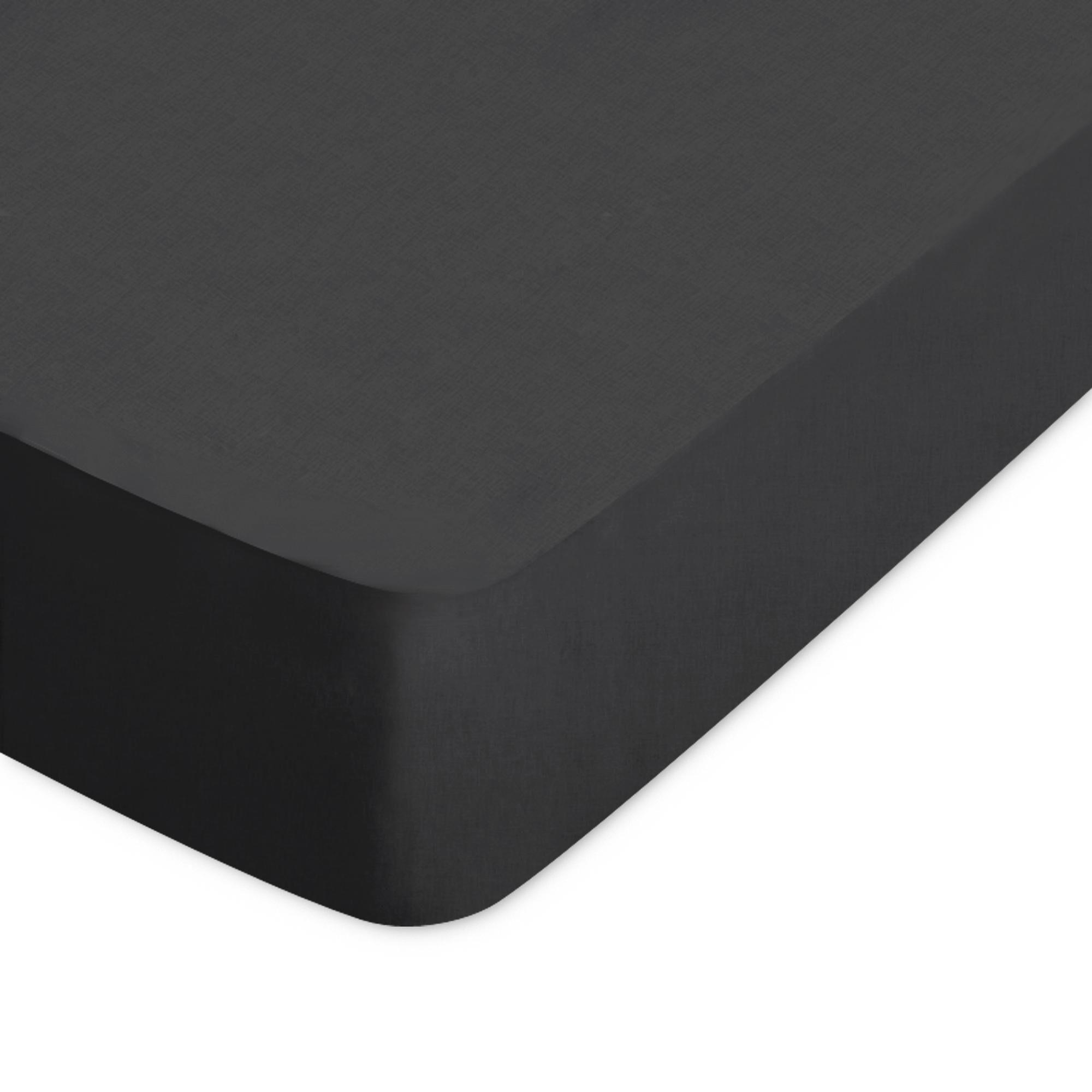 Linnea Drap housse uni 70x150 cm 100% coton ALTO Noir de lune