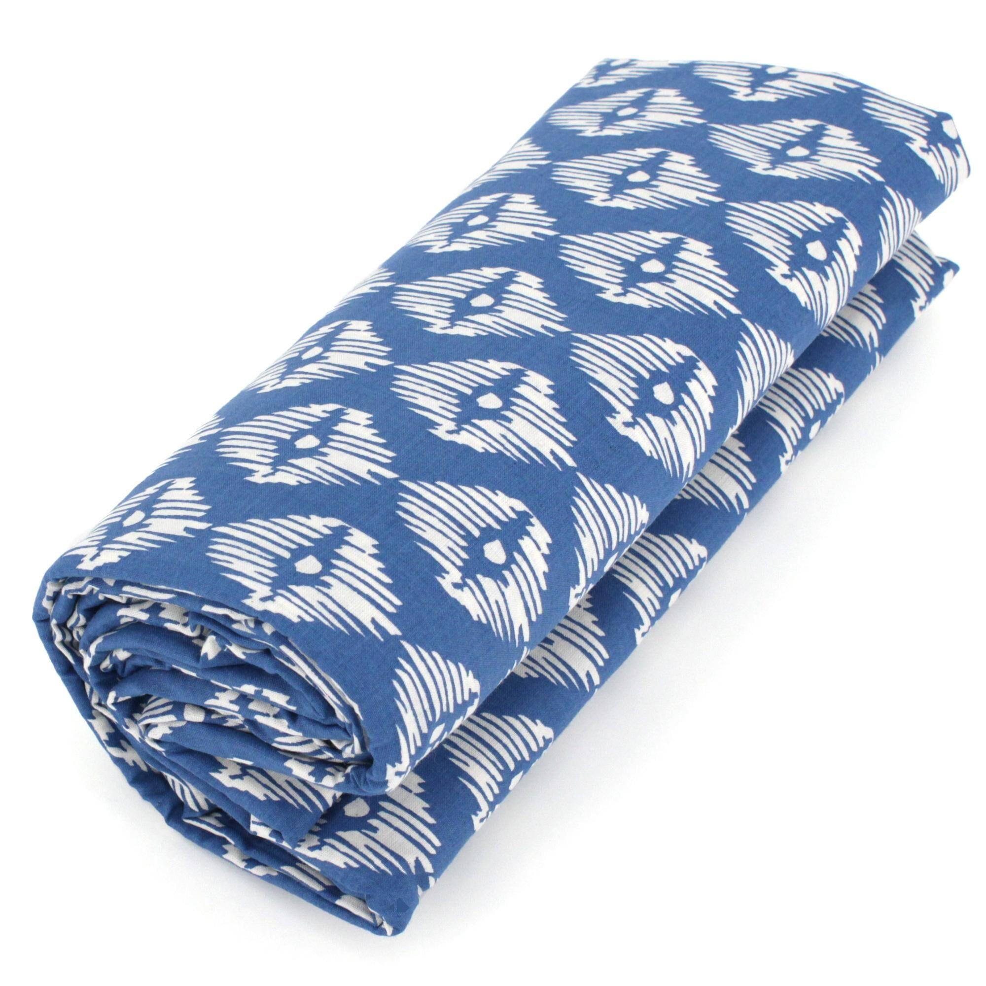 Linnea Drap housse imprimé 80x200 cm 100% coton RIO bleu jade Bonnet 40 cm