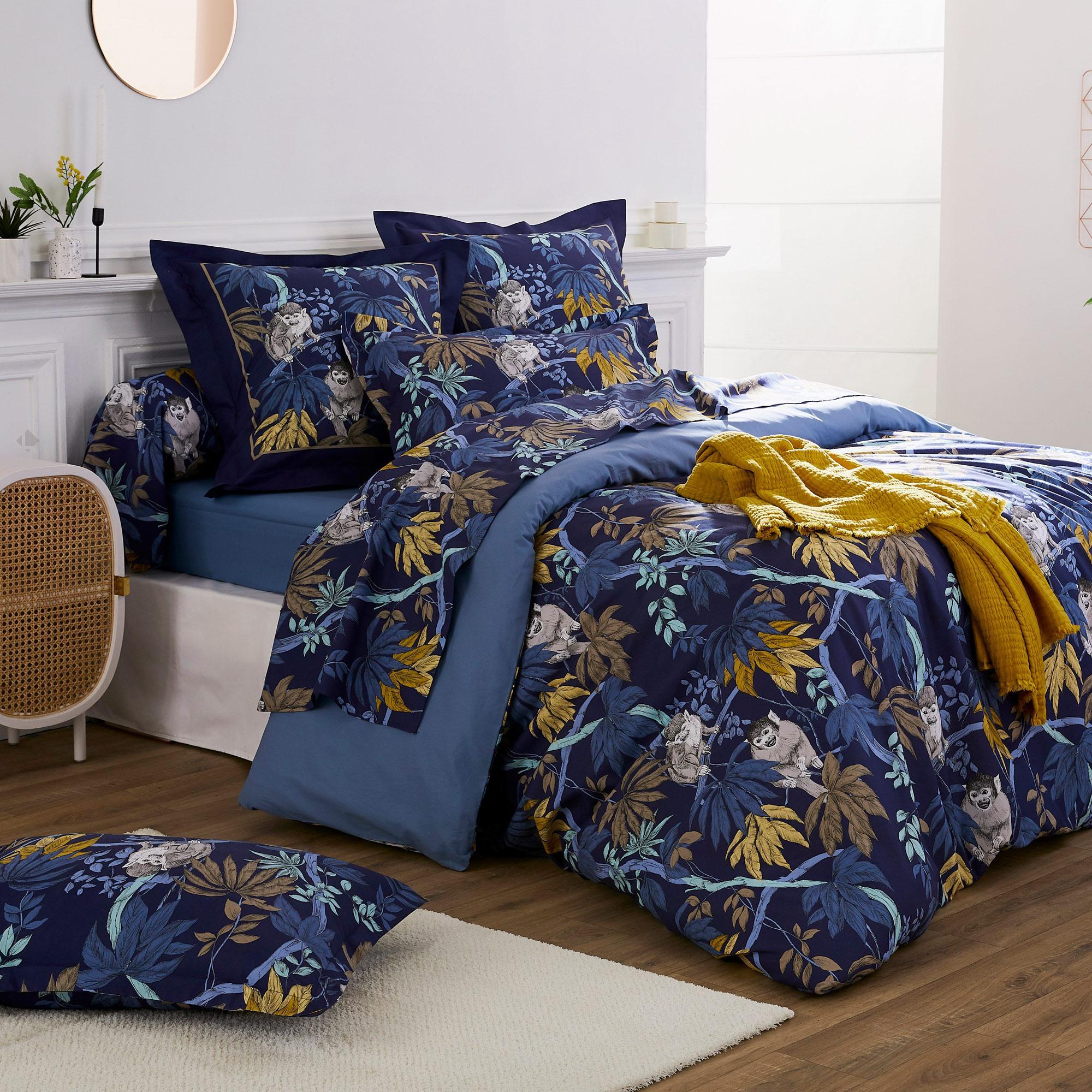 Linnea Housse de couette 140x200 cm 100% coton CAPUCIN bleu Nuit avec impression fixé-lavé