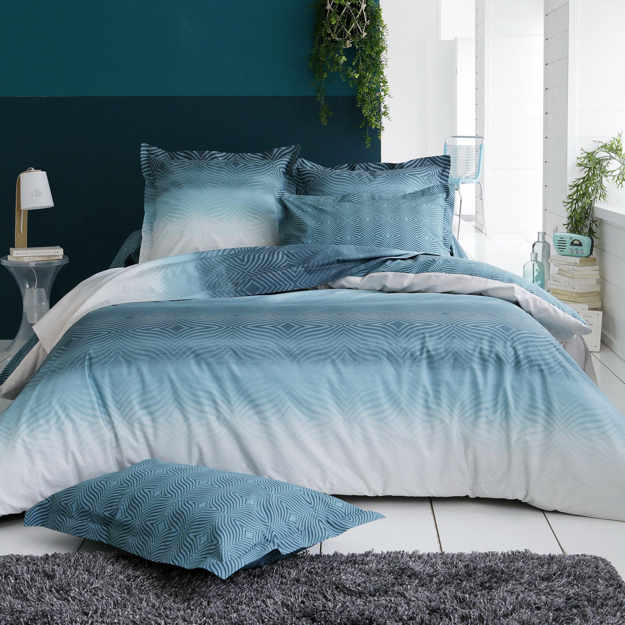 Linnea Housse de couette 140x200 cm Percale 100% coton JAMES bleu Azur
