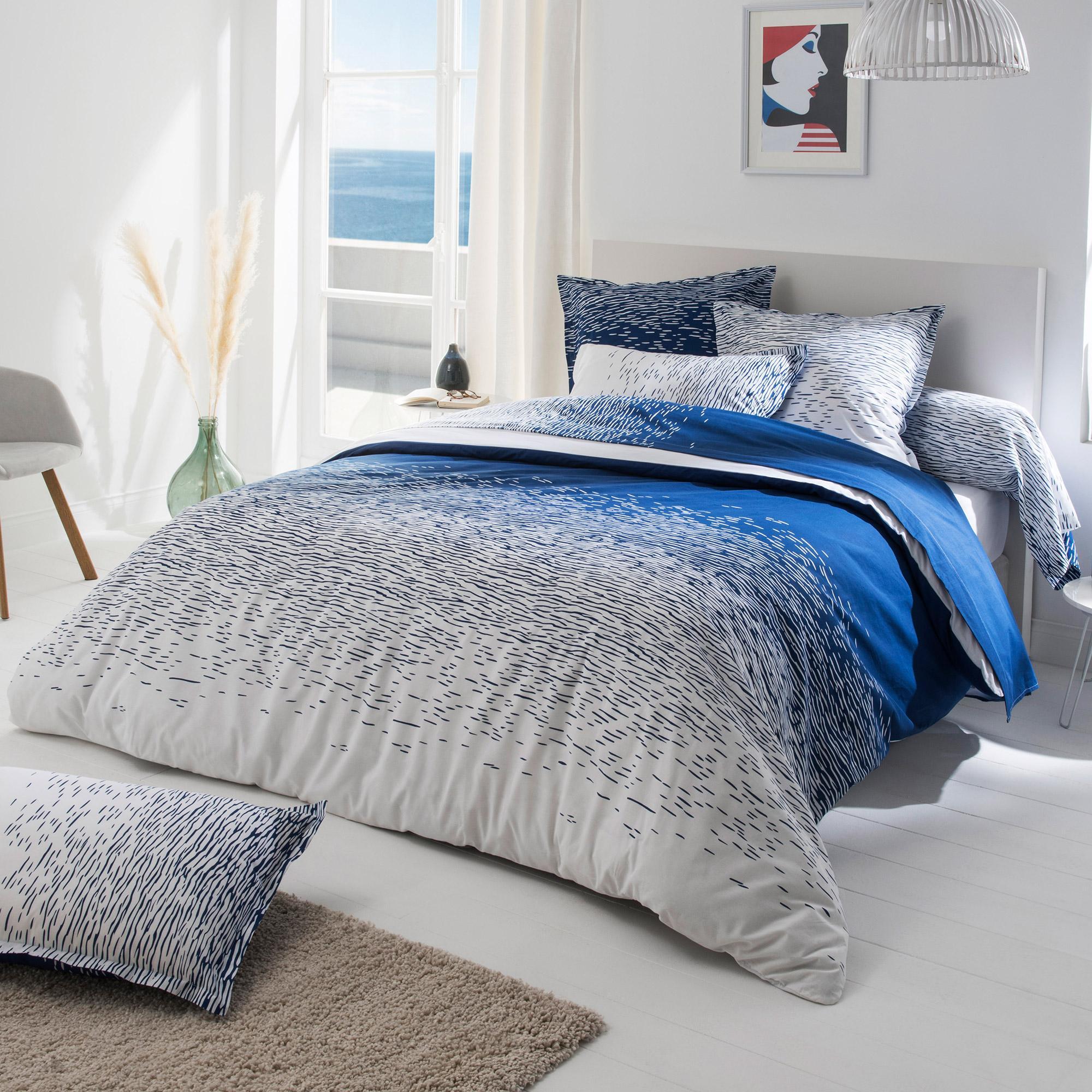 Linnea Housse de couette 140x200 cm 100% coton REFLET OUTREMER bleu nautique